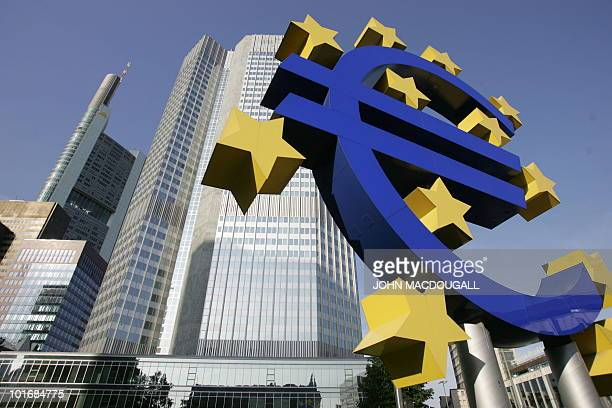 FILES A giant Euro symbol the currency of the EU stands in front of Frankfurt's Eurotower which houses the European Central Bank taken 28 June 2005...