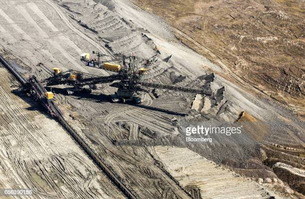A giant excavator conducts lignite mining operations in the open pit at the RB Kolubara doo Lazarevac central coal mine in this aerial view in...