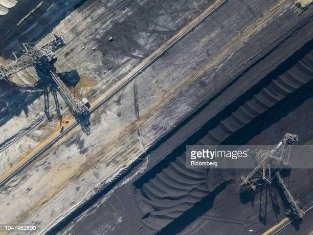 Giant excavators operate on different layers of terrain at the open pit lignite mine operated by RWE AG in Hambach Germany on Friday Oct 5 2018 The...