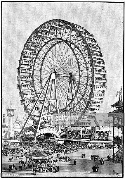 Giant Ferris wheel International Exhibition Chicago 1893 The event known as the Columbian Exhibition was held to commemorate the 400th anniversary of...