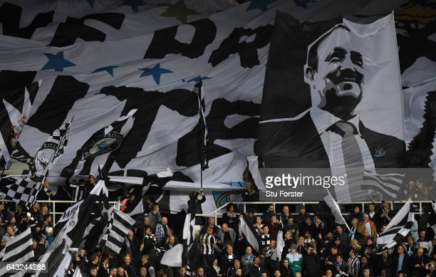 A giant flag of Rafa Benitez flutters in the Gallowgate end before the Sky Bet Championship match between Newcastle United and Aston Villa at St...