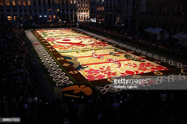 A giant flower carpet having a Japanese design due to 150th years celebrations of Belgium Japan relations is seen during the 20th Flower Carpet...