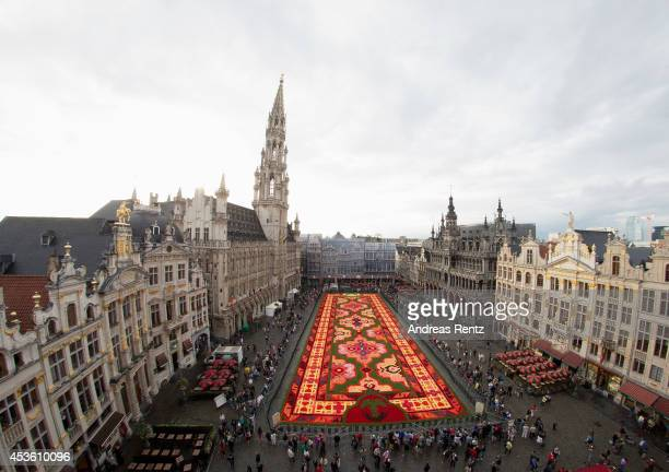 A giant flower carpet is pictured at the Grand Place next to the town hall on August 14 2014 in Brussels Belgium This year nearly 750000 begonias...