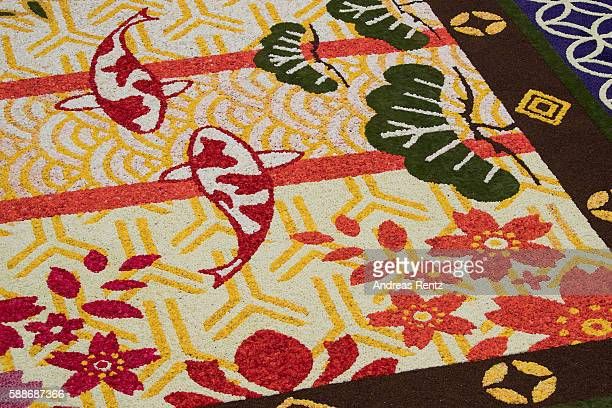 A giant flower carpet is pictured within the celebrations of 150 years of BelgoJapanese relations and features a Japanese design in honour of the...