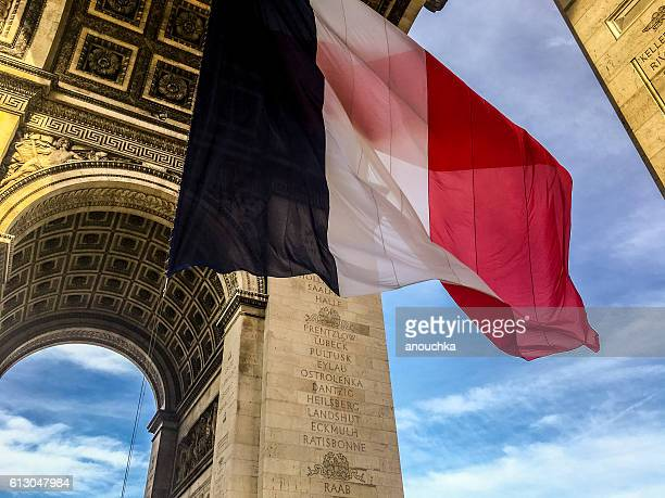 Giant French Flag under Triumphal Arch, Paris