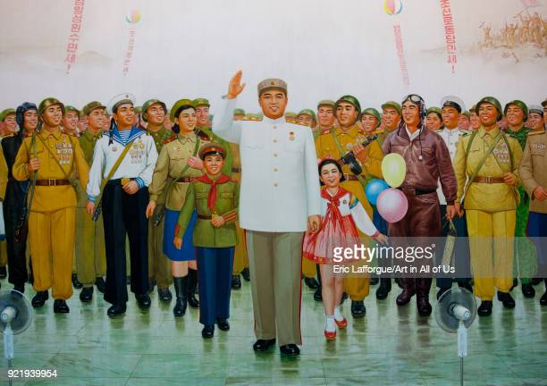 Giant fresco of Kim il Sung in the victorious fatherland liberation war museum, Pyongan Province, Pyongyang, North Korea on September 7, 2008 in...