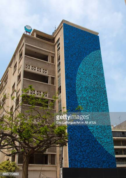 Giant fresco on a building Beirut Governorate Beirut Lebanon on May 5 2017 in Beirut Lebanon