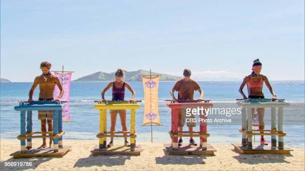 A Giant Game of Bumper Cars Sebastian Noel Angela Perkins Donathan Hurley and Laurel Johnson on the twelfth episode of Survivor Ghost Island airing...