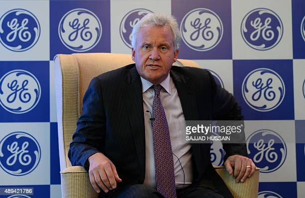 US giant General Electric's chief executive officer Jeffrey R Immelt addresses a press conference in New Delhi on September 21 2015 Immelt sees...
