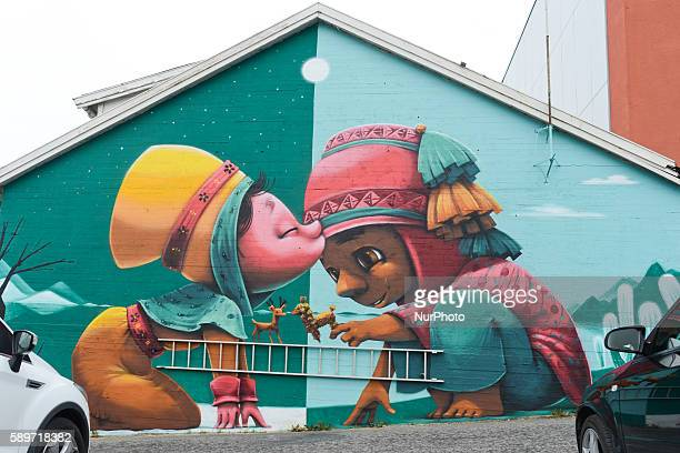 Giant graffiti in Bodo city center.. On Monday, 15 August 2016, in Bodo, Norway.