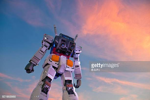 Giant Gundam Robot Statue at Twilight in Tokyo, Japan
