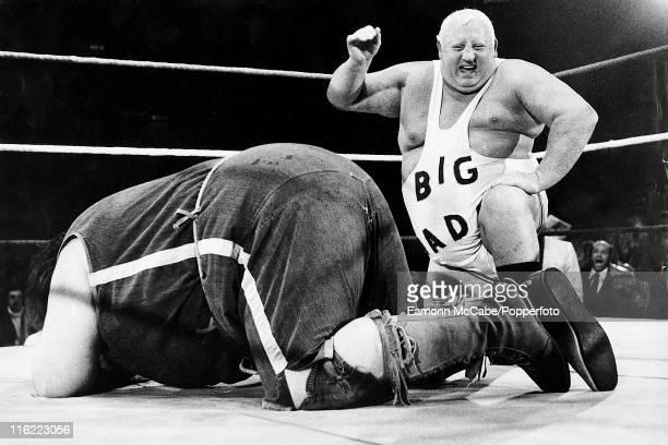 Giant Haystacks aka Martin Ruane and Big Daddy aka Shirley Crabtree wrestling at Wembley Arena London 18th June 1981