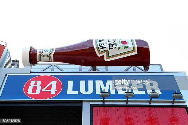 Giant Heinz ketchup bottle sits atop the Heinz Field scoreboard inside Heinz Field home of the Pittsburgh Steelers and Pittsburgh Panthers football...