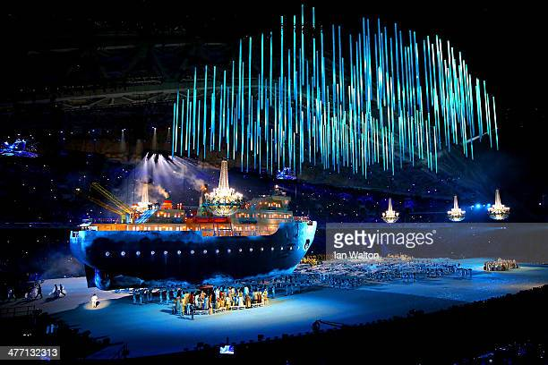 Giant ice breaker ship enters the arena carrying russian soprano Maria Guleghina during the Opening Ceremony of the Sochi 2014 Paralympic Winter...