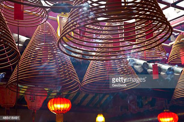 Giant incense spirals, hanging..