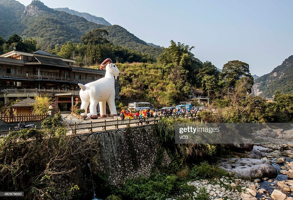 A giant inflatable ram is paraded during an early New Year celebration, on February 6, 2015 in Fuzhou, Fujian province of China. Chinese New Year on February 19, 2015 will usher in the year of the Goat.