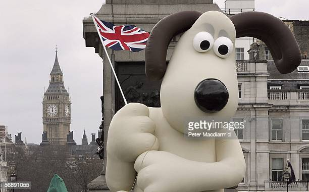 A giant inflatable Wallace from the Wallace Gromit film 'The Curse of the wererabbit' helps promote the DVD release in Trafalgar Square on February...
