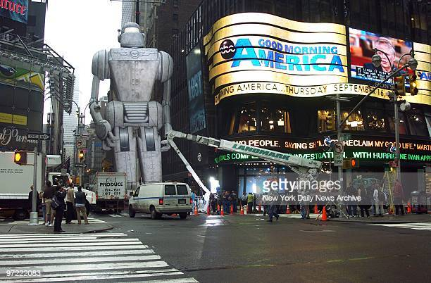 A giant inflated robot from the movie 'Sky Captain and the World of Tomorrow' takes its stand outside the ABC studios on W 44th St The movie's star...