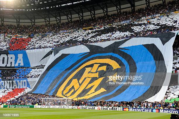 Giant Inter Milan flag covers the end of the stadium prior to the start of the UEFA Champions League Final match between Bayern Munich and Inter...