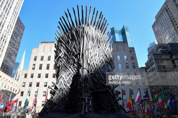 A giant Iron Throne is on display ahead of the Game of Thrones eighth and final season at Radio City Music Hall on April 3 2019 in New York city