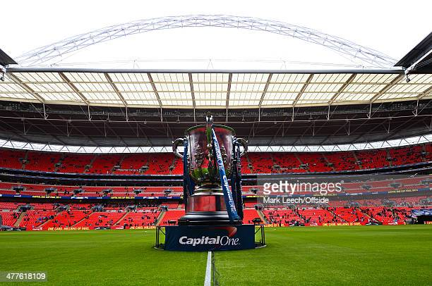 A giant league cup trophy placed on the Wembley pitch during the Capital One Cup Final between Sunderland and Manchester City at Wembley Stadium on...
