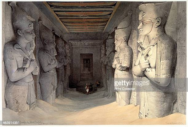 Giant limestone statues of Rameses II Temple of Rameses Abu Simbel Egypt 1836 The reign of the Ancient Egyptian pharaoh Rameses II was notable for an...