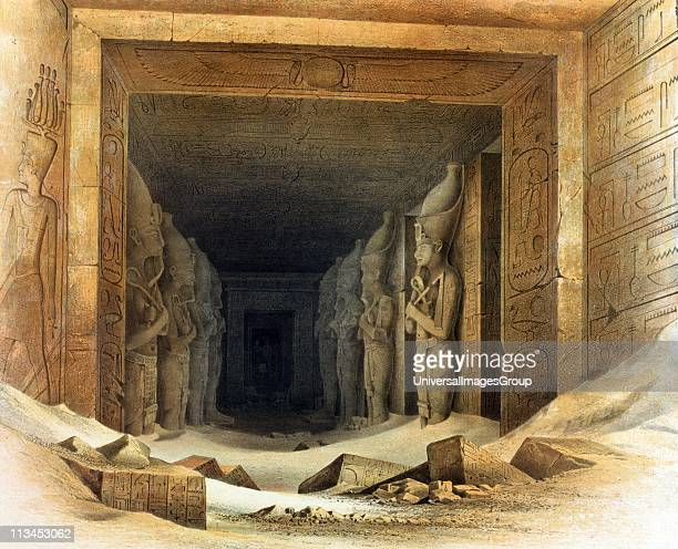 Giant limestone statues of Ramses II Lithograph after Karl Richard Lepsius Prussian Egyptologist Each holds crook and flail symbols of kingship'