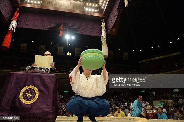 Giant macaron is prepared before award ceremony of the Japan- France Friendship Cup gifted to the champion of Grand Sumo Summer Tournament at Ryogoku...