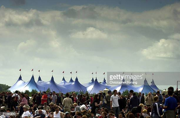 Giant marquees dominant the skyline during The T In The Park Festival on July 12 2003 at Balado near Kinross Scotland