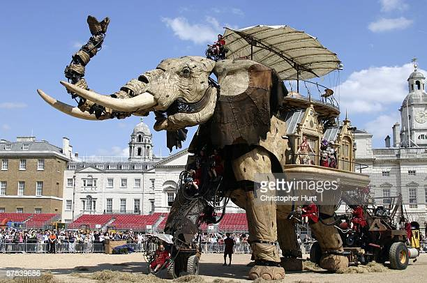 A giant mechanical elephant walks through Horse Guards Parade on May 5 2006 in London The 42tonne elephant is part of a special weekend of outdoor...