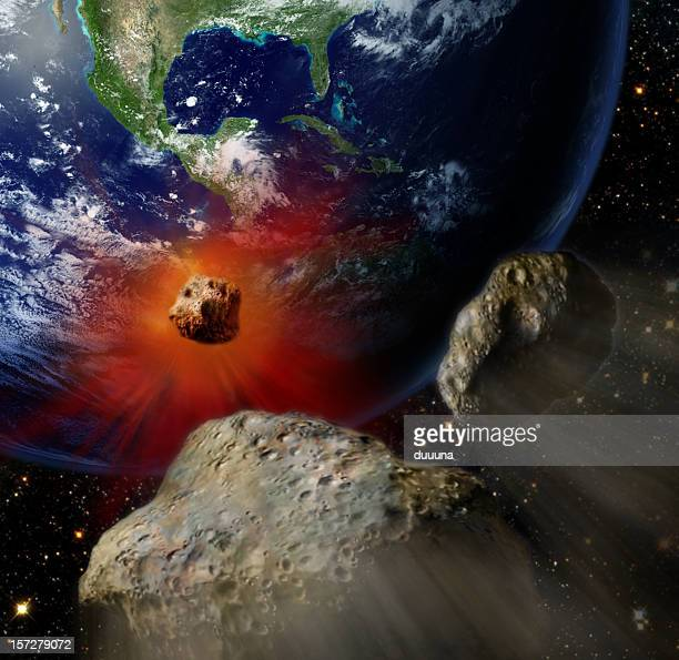 giant meteors from space  crashing earth color - asteroid stock pictures, royalty-free photos & images