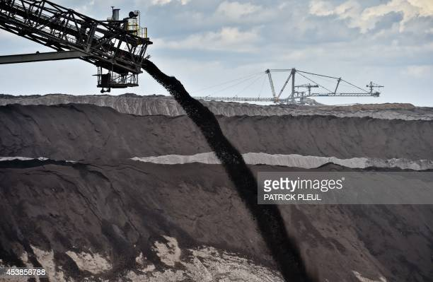 Giant mining machines for the production of lignite stand in the WelzowSued opencast pit of energy giant Vattenfall in Welzow eastern Germany on...