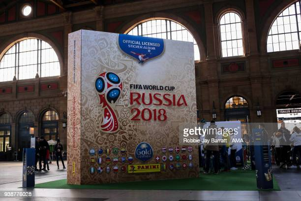A giant model FIFA World Cup Russia 2018 gold edition panini sticker album is seen in Zurich Hauptbahnhof train station prior to the International...