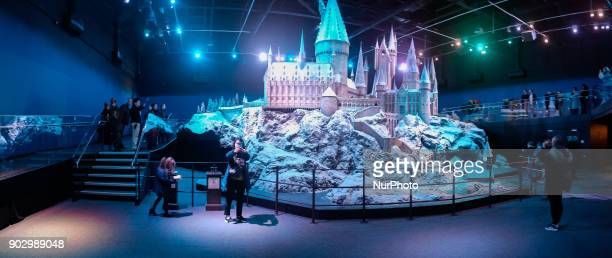 Giant model of Hogwarts magic school at the Warner Bros' Harry Potter studio in Watford London United Kingdom on 9 January 2018