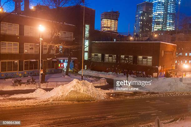Giant mounds of snow in the process of getting indescribably filthy are piled up in the New York neighborhood of Chelsea in the aftermath of Winter...