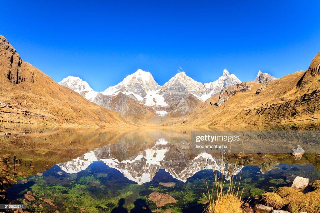 Giant mountains mirrored on lake : Stock Photo