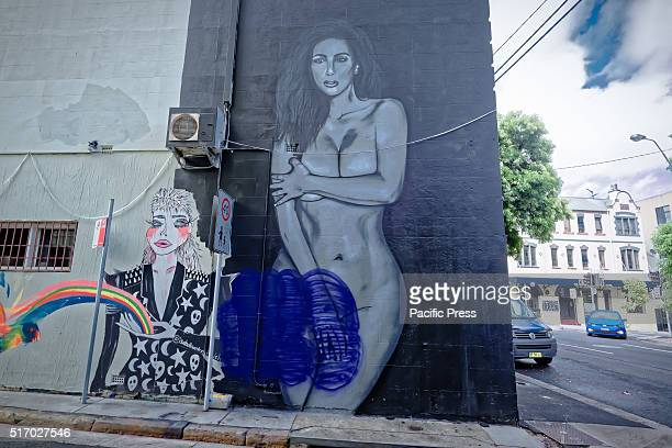 CHIPPENDALE SYDNEY NSW AUSTRALIA A giant nude Kim Kardashian mural adjacent to the mural of two Kanye Wests making out by street artist Scott Marsh...
