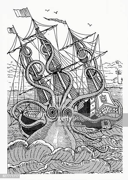 Octopus Shipwreck Drawing Octopus Illustr...