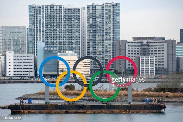 Giant Olympic Rings are installed at the waterfront area at Odaiba Marine Park in Minato Ward Tokyo on January 17 2020 Japan The giant symbol is...