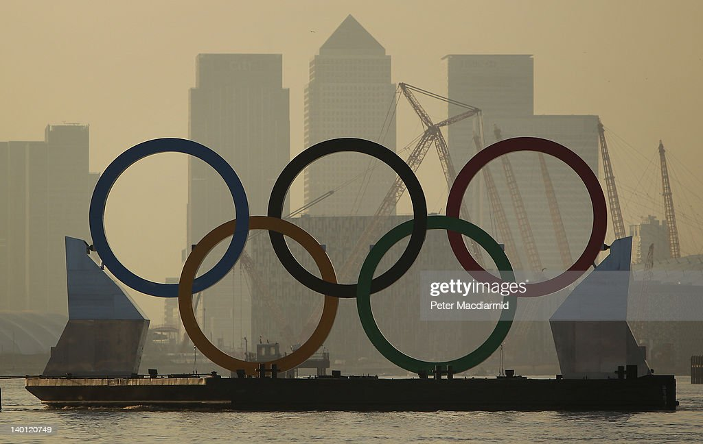 Giant Olympic Rings Are Launched On The River Thames : News Photo