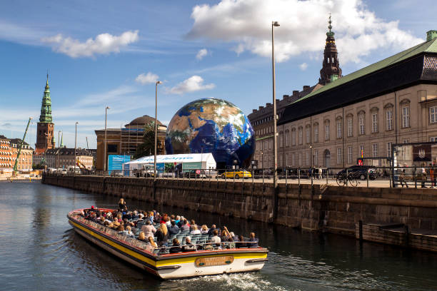 "Copenhagen's ""Climate Safari"" globe that can accommodate up to 300 children to teach them about green energy and help raise awareness of the consequences of climate change."