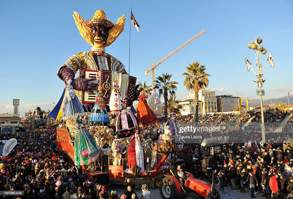 A giant paper mache float moves through the streets of Viareggio during the traditional Carnival parade on February 10, 2013 in Viareggio, Italy. The Carnival of Viareggio is considered one of the most important carnivals in Italy and is characterised by its giant paper mache floats representing caricatures of popular characters, politicians and fictional creations.