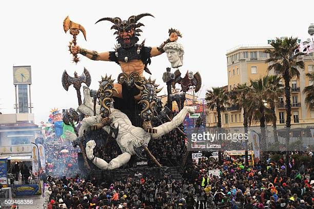 A giant papermache representing barbarians float moves through the streets of Viareggio during the traditional Carnival of Viareggio parade on...