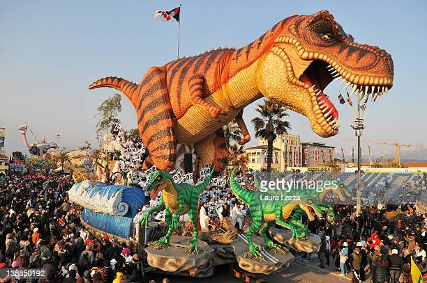 A giant papier maché float parades through the streets of Viareggio during the second traditional Carnival parade on February 12 2012 in Viareggio...