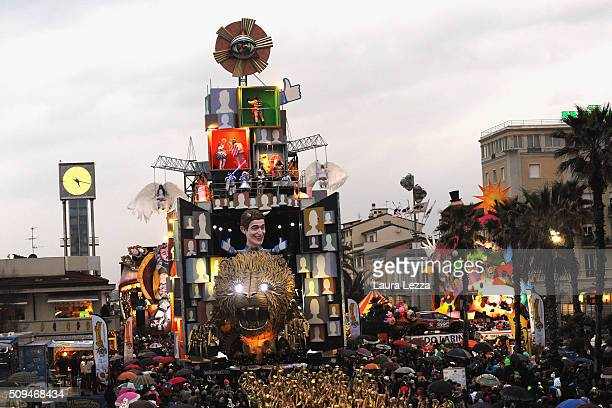 A giant papiermache float representing Facebook and American entrepreneur Mark Zuckerberg moves through the streets of Viareggio during the...