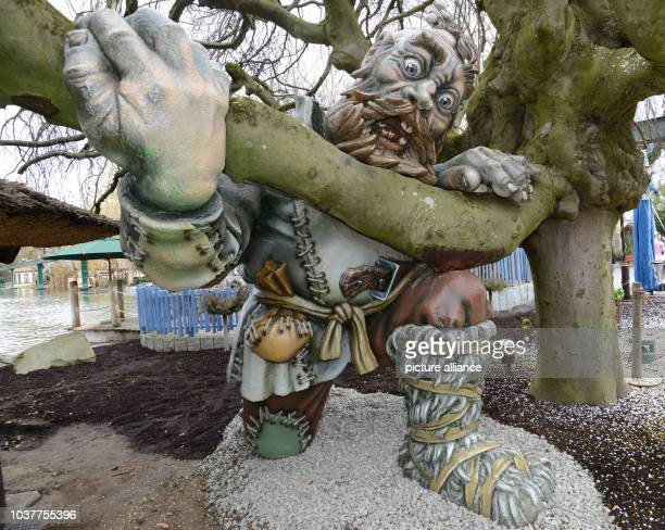 A giant performs a scene of the Brothers Grimm fairy tale 'The Valiant Little Tailor' at Europapark in Rust Germany 21 March 2013 Germany's largest...