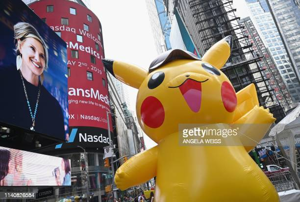 TOPSHOT A giant Pikachu baloon attends the premiere of Pokemon Detective Pikachu at Military Island Times Square on May 02 2019 in New York City
