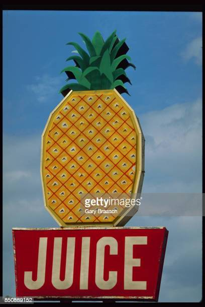 A giant pineapple sculpture rests upon a red 'JUICE' sign Clewiston Florida