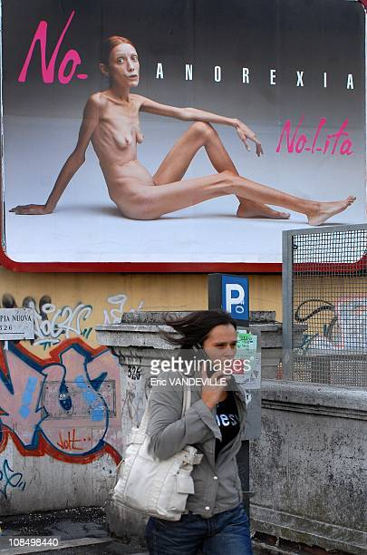 Giant poster in downtown Rome showing a naked emaciated woman part of a campaign against anorexia by Italian photographer Oliviero ToscaniIsabelle...