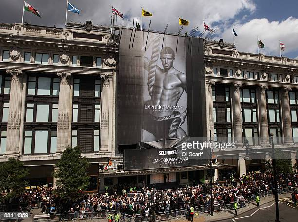 Giant poster of David Beckham advertising Armani underwear is unveiled on the side of Selfridges department store on June 11, 2009 in London,...